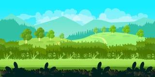 Ślicznej kreskówki bezszwowy krajobraz z oddzielonymi warstwami, letni dzień ilustracja Zdjęcia Royalty Free