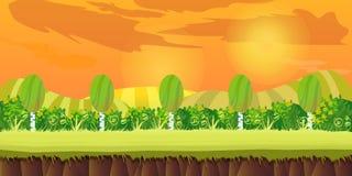 Ślicznej kreskówki bezszwowy krajobraz z oddzielonymi warstwami, letni dzień ilustracja 1024x512 Fotografia Royalty Free