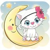 Ślicznej kreskówki biała figlarka na księżyc royalty ilustracja