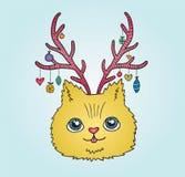 Ślicznej kreskówki Bożenarodzeniowy kot z jelenimi rogami Obraz Stock
