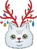 Ślicznej kreskówki Bożenarodzeniowy kot z jelenimi rogami Zdjęcia Royalty Free
