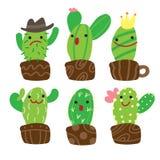 Ślicznej kreskówki charakteru kaktusowa kolekcja ilustracji
