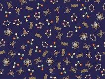 Ślicznej kreskówki cząsteczkowy bezszwowy wzór DNA molekuła, atomy i nauka elementy, atomowej struktury, protonu i elektronu, ilustracja wektor