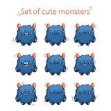 Ślicznej kreskówki puszysty potwór z różnymi emocjami Charakteru potwór dla gemowego projekta Fotografia Royalty Free