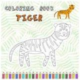 Ślicznej kreskówki tygrysia sylwetka dla kolorystyki książki ilustracja wektor