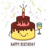 Ślicznej kreskówki uśmiechnięty tort z szkłem szampan Wektorowy Illust Obraz Royalty Free