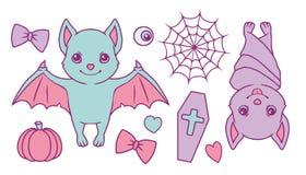 Ślicznej kreskówki wektorowy inkasowy ustawiający z nietoperzami, spiderweb, banią, trumną, sercami, gałką oczną i faborkiem past ilustracja wektor