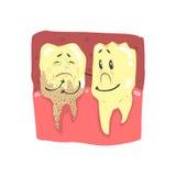 Ślicznej kreskówki zdrowi i gnijący zębów charaktery z śmieszną twarz wektoru ilustracją ilustracja wektor