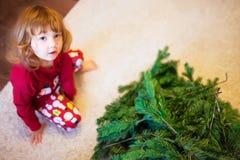 Ślicznej małej dziewczynki gromadzić choinka Obraz Royalty Free