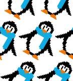 Ślicznej piksel sztuki wektorowy bezszwowy wzór: piksel sztuki kolorowy pengu ilustracji