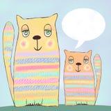 Śliczni śmieszni koty z mową gulgoczą na błękitnym tle Zdjęcia Royalty Free