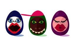 Śliczni śmieszni Wielkanocni jajka ilustracji