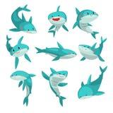 Śliczni życzliwi rekiny ustawiają, ślicznego śmiesznego dennego zwierzęcia postać z kreskówki wektorowa ilustracja na białym tle royalty ilustracja