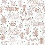 Śliczni bezszwowi wzory z insektami i liśćmi Obrazy Royalty Free