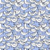 Śliczni biali ptaki ustawiający wektor bezszwowy wzoru Zdjęcie Royalty Free