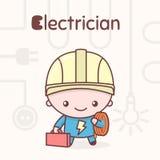 Śliczni chibi kawaii charaktery Abecadło zawody Listowy E - elektryk Ilustracja Wektor