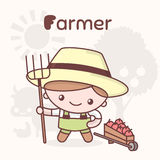 Śliczni chibi kawaii charaktery Abecadło zawody Listowy F - rolnik Ilustracji