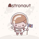 Śliczni chibi kawaii charaktery Abecadło zawody Pisze list A - astronauta Ilustracji