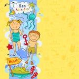 Śliczni children rabatowi z plażowymi elementami Obrazy Royalty Free