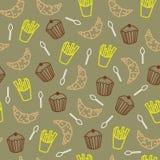 Śliczni ciastka i inny produktu spożywczego Bezszwowy wzór royalty ilustracja