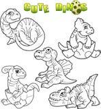 Śliczni dinosaury ustawiający wizerunki Zdjęcie Royalty Free