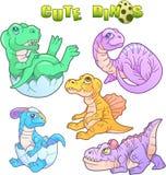 Śliczni dinosaury ustawiający wizerunki Obraz Royalty Free