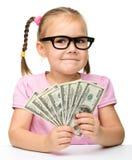 śliczni dolary dziewczyny małego pieniądze papieru Zdjęcia Royalty Free