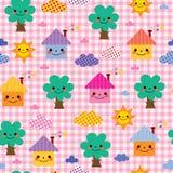 Śliczni domy, drzewa i chmurnieją dzieciak natury wzór Obraz Stock