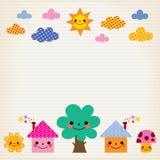 Śliczni domy, drzewo, słońce, pieczarka, chmurnieją dzieciak wykładającego papierowego tło Zdjęcie Stock