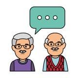 Śliczni dziady z mowa bąblem ilustracja wektor