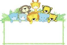 Śliczni dzieci zwierzęta i bambus rama ilustracji