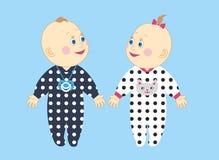 Śliczni dzieciaki chłopiec i dziewczyna w suwakach Obrazy Royalty Free