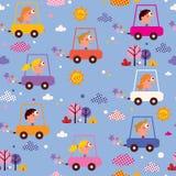 Śliczni dzieciaki jedzie samochodu wzór Zdjęcia Stock