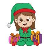 Śliczni dzieciaki trzyma dużego prezent od Santa w święto bożęgo narodzenia royalty ilustracja