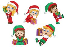 Śliczni dzieciaki trzyma dużego prezent od Santa w święto bożęgo narodzenia ilustracja wektor