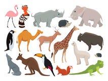 Śliczni dzikie zwierzęta w kreskówka stylu Wektorowy ilustracja set odizolowywa na bielu ilustracja wektor