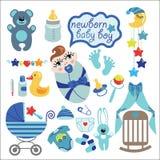 Śliczni elementy dla nowonarodzonej chłopiec Obrazy Stock