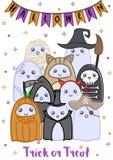 Śliczni Halloweenowi duchy ilustracja wektor