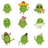 Śliczni kaktusowi postać z kreskówki ustawiają, kaktus aktywność z różnymi emocjami i pozy, kolorowy szczegółowy wektor ilustracja wektor