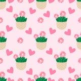 Śliczni kaktusy, flowerpots Bezszwowy wzór z ślicznymi kaktusami Natura, wiosna ilustracja wektor