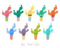 Śliczni kaktusy z różnymi twarzami royalty ilustracja