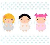 Śliczni Kawaii bożych narodzeń aniołowie Zdjęcia Stock
