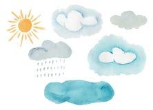 Śliczni kolorowi akwareli pogody elementy ilustracji