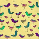Śliczni kolorowi ptaki ustawiający z plamą Raster wzór Zdjęcie Royalty Free