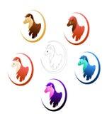 Śliczni koniki w różnych colours ilustracja wektor
