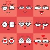 Śliczni korala i placu czerwonego majcherów valentines emoticons stawiają czoło ikony ustawiać royalty ilustracja