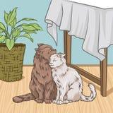 Śliczni koty ściska podczas gdy siedzący obok stołu, izbowa wewnętrzna rocznika stylu domu wektoru ilustracja royalty ilustracja