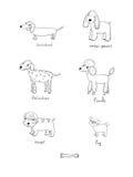 Śliczni kreskówka psy różnorodni trakeny ilustracji