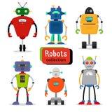 Śliczni kreskówka roboty ustawiający ilustracja wektor