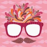 Śliczni kreskówki doodle modnisia szkła i wąsy Obraz Stock